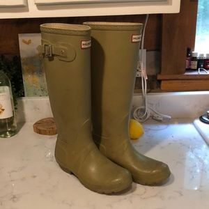 Olive green hunter boots